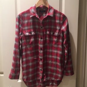 Madewell light flannel red/gray plaid button up